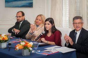 Sr. Thomas Plisson, director Gral. CCIFD, S.E.Sra. Rosa Hernández de Grullón, embajadora dominicana en Francia, Sra. Biviana Riveiro, directora Ejecutiva de Prodominicana y Sr. Jacques Gerault, presidente del Consejo de Empresas de Francia-Américas de Medef Internacional.