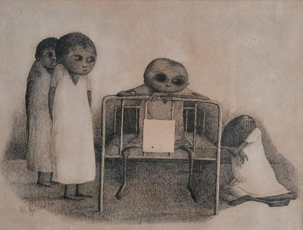 Dibujo a tinta realizado por Ramón Oviedo.