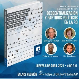 """Invitación del lanzamiento del libro """"Descentralización y Partidos Políticos en la República Dominicana""""."""
