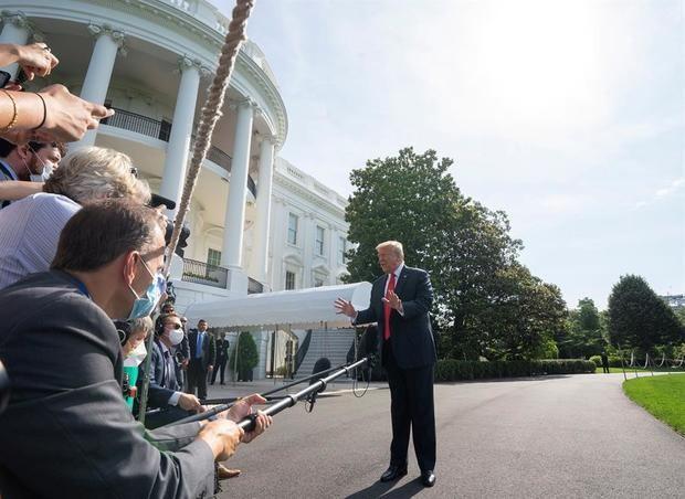 En la imagen, el presidente de los EE.UU., Donald J. Trump en una rueda de prensa en la Casa Blanca.