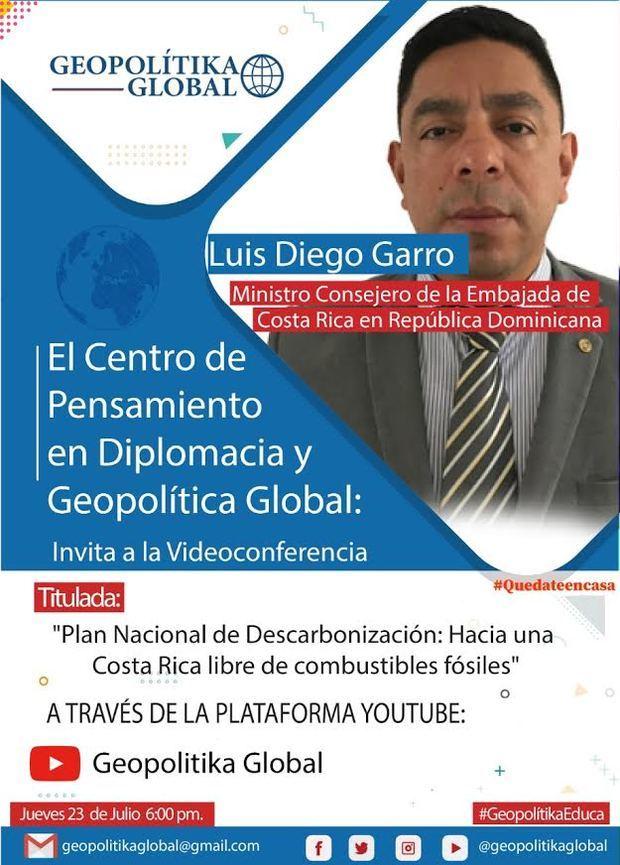 """Invitación de Luis Diego Garro, con el tema: """"Plan Nacional de Descarbonización: Hacia una Costa Rica libre de combustibles fósiles'."""