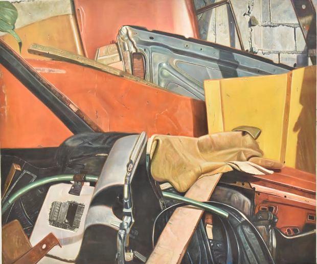 Obra de Alberto Bass de su exposición Imágenes de la Economía Informal en RD, inaugurada en el Banco Central.