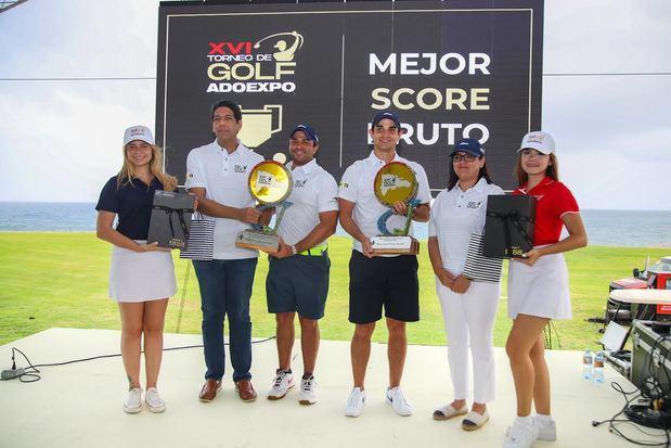 Dúo Yunen y Mera conquista la copa del XVI torneo golf ADOEXPO