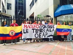Manifestantes venezolanos frente a la OEA.