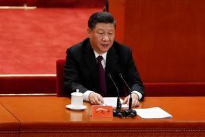 Imagen del presidente chino, Xi Jinping en Pekín (China).