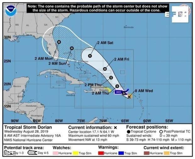República Dominicana baja la alerta por la tormenta tropical Dorian