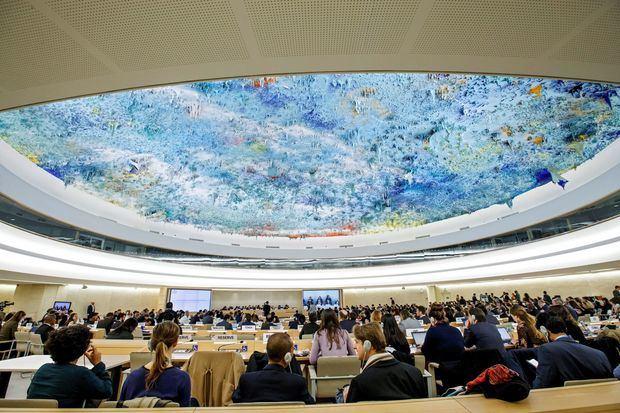 Vista general de una sesión especial del Consejo de Derechos Humanos en la sede europea de la ONU en Ginebra, Suiza.