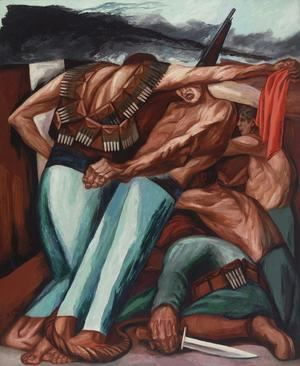 Fotografía cedida este miércoles por la Sociedad Mexicana de Autores de las Artes Plásticas (SOMAAP) por vía del museo Whitney, donde se muestra la obra 'Barricada' (1931) de José Clemente Orozco, que formará parte de la exposición titulada 'Vida Americana: Mexican Muralists Remake American Art, 1925-1945', en Nueva York (EE.UU.). EFE/SOMAAP/Artists Rights Society
