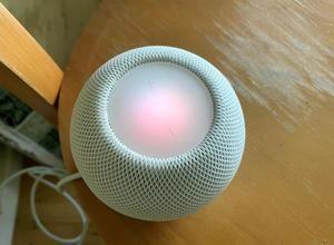 Fotografía de un HomePod mini de Apple, con diseño esférico, de textura suave agradable al tacto, de sólo 3,3 pulgadas de altura (8,43 cm) y que cuesta 99 dólares (99 euros).