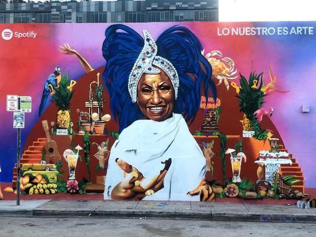 Celia Cruz representa la herencia latina en mural de barrio bohemio de Miami