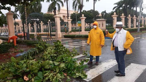 Brigadas de Obras Públicas retiran escombros de vías tras el paso de la tormenta Laura