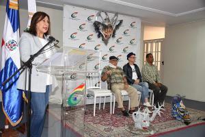 La viceministra Edilí Pichardo,  experto brasileño, Michelle Barreto de Castro,   Reyes Moore, director nacional de Carnaval; Dagoberto Tejeda, sociólogo y folclorista dominicano.