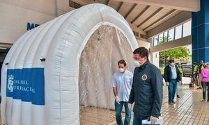David Collado instala primeros túneles sanitizante para combatir propagación de COVID 19
