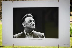 Fotografía de un retrato del escritor uruguayo Mario Benedetti hecho por el fotógrafo Eduardo Longoni en una muestra homenaje hoy, en Montevideo (Uruguay).
