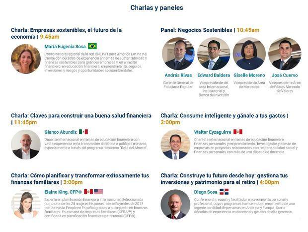 Agenda de charlas y paneles Foro Finanzas Sostenibles del Banco Popular Dominicano.