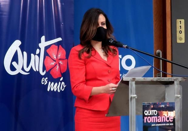 La gerente de Quito Turismo, Carla Cárdenas, fue registrada este jueves, durante el lanzamiento del nuevo producto turístico 'Quito Romance', en Quito, Ecuador.