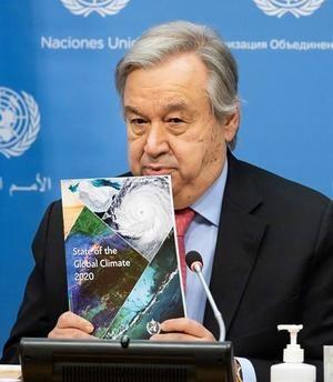 El secretario general de Naciones Unidas, António Guterres, participa en la presentación del Informe sobre el Estado Global del Clima 2020, este 19 de abril de 2021, en Nueva York. EFE/Justin Lane