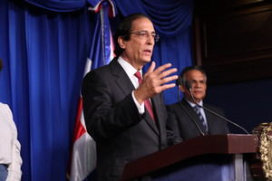 Ministro de la Presidencia, Gustavo Montalvo, durante rueda de prensa en el Salón Orlando Martínez del Palacio Nacional.