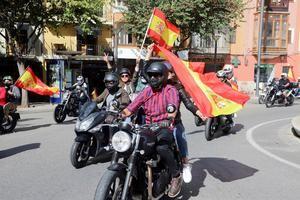 Marcha motorizada convocada por el Foro Baleares en el centro de Palma por la unidad de España y coincidiendo con el Día de la Hispanidad, en una fotografía de archivo.