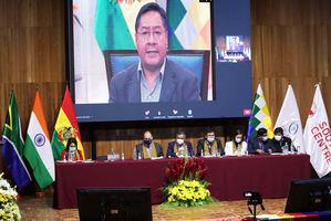 El presidente de Bolivia, Luis Arce, participa de forma telemática en el foro 'Liberación de las patentes y consideraciones de propiedad intelectual en el contexto de la covid-19', hoy en El Alto, Bolivia.