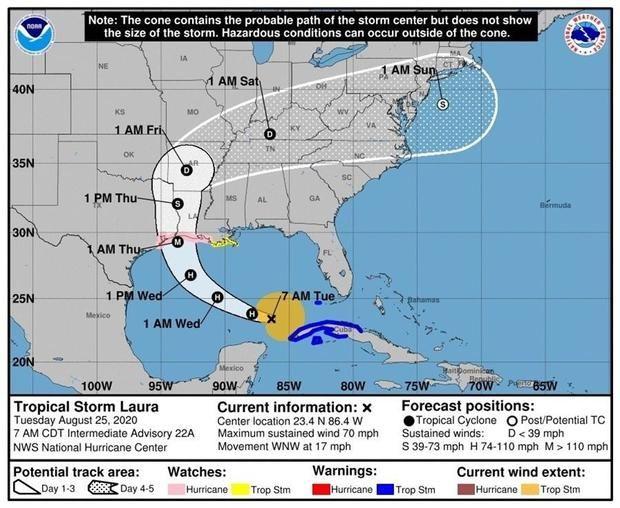 Fotografía cedida por el Centro Nacional de Huracanes (NHC) estadounidense donde se muestra el pronóstico de cinco días de la trayectoria del huracán Laura en el Golfo de México hasta su entrada a las costas estadounidenses.