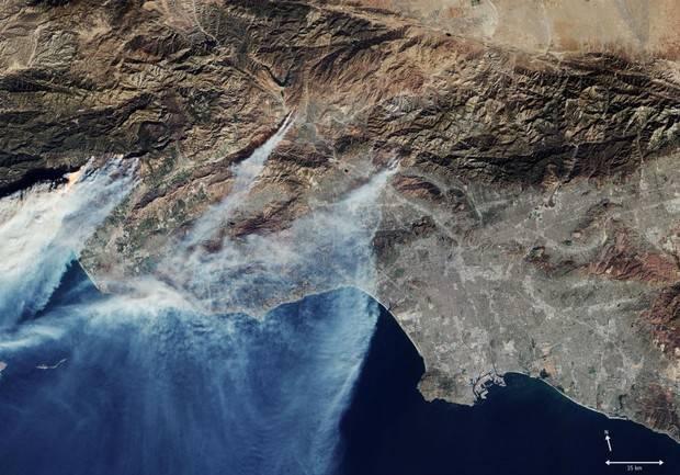 Los satélites de la ESA captan la devastación de los fuegos en California