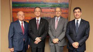 De izquierda a derecha, los señores Manuel E. Jiménez F., Manuel A. Grullón, Marino D. Espinal y Christopher Paniagua.