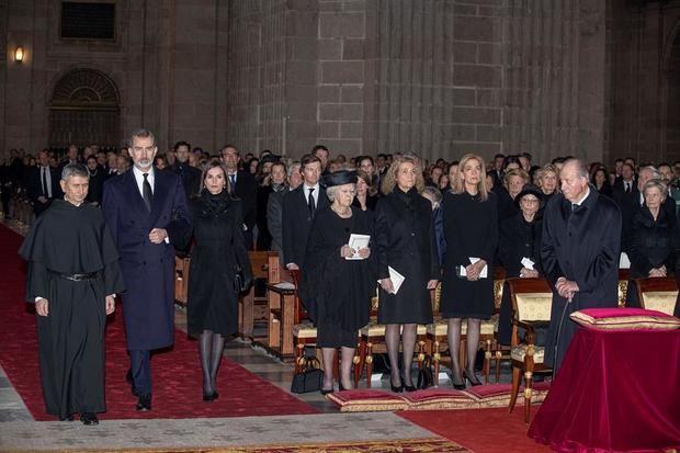 Los reyes de España y casas reales europeas, en el funeral por la tía del Felipe VI