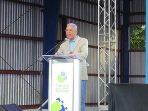 Carlos Manuel Estrella, condujo la Rueda de Prensa del lanzamiento de Expo Cibao 2019.
