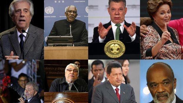 Combo de fotografías de archivo de los mandatarios latinoamericanos: Fila superior (i-d) El presidente de Uruguay, Tabaré Vázquez (2019); el presidente de Guayana, David Granger (2015); el expresidente de Colombia Juan Manuel Santos (2018); la expresidenta brasileña Dilma Rousseff (2018); Fila inferior (i-d) el expresidente brasileño Luiz Inácio Lula da Silva (2016); el expresidente paraguayo Fernando Lugo (2018); el expresidente de Venezuela Hugo Chávez (2006) y el expresidente de Haití René Préval (2010).