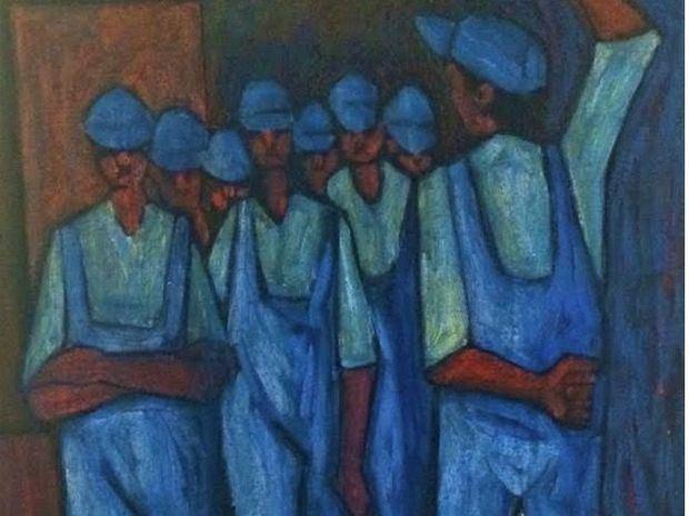 Candido Bidó, Obreros, 40 x 33 Pulgs. 1968