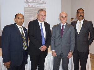 Braulio Ramírez, Pedro Domínguez Brito, Don Alejandro Abellán García de Diego, Embajador de España en RD y Aquiles Rodríguez.