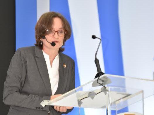 Frauke Pfaff, directora ejecutiva de la Cámara de Comercio, Industria y Turismo Domínico Alemana, durante su participación en el Congreso Internacional Ideice 2019.