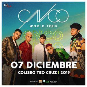 """El polular grupo mùsical CNCO regresa a los escenarios dominicanos con su más reciente gira """"CNCO World Tour 2019"""" para presentarse en el Coliseo Teo Cruz, este sábado 7 de diciembre."""