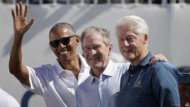 Obama, Bush y Clinton asisten a Copa Presidentes de Golf