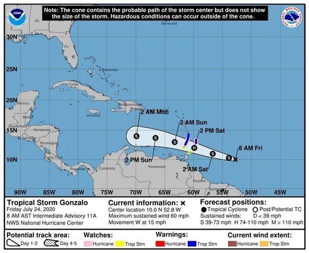 Fotografía cedida este viernes por el Centro Nacional de Huracanes (NHC) de Estados Unidos donde se muestra el pronóstico de 4 días del paso de la tormenta tropical Gonzalo que amenaza con fortalecerse a huracán.