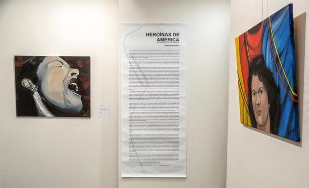 La pintora dominicana Jeannette Alfau rinde homenaje a diecisiete mujeres americanas convertidas en 'iconos' por su contribución a la evolución social, en una exposición en la ciudad española de Logroño con motivo del Día Internacional de la Mujer, el 8 de marzo.