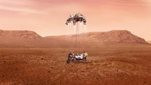 Fotografía cedida este miércoles por la Administración Nacional de Aeronáutica y el Espacio (NASA) que muestra una ilustración del rover Perseverance mientras aterriza de forma segura sobre la superficie de Marte.