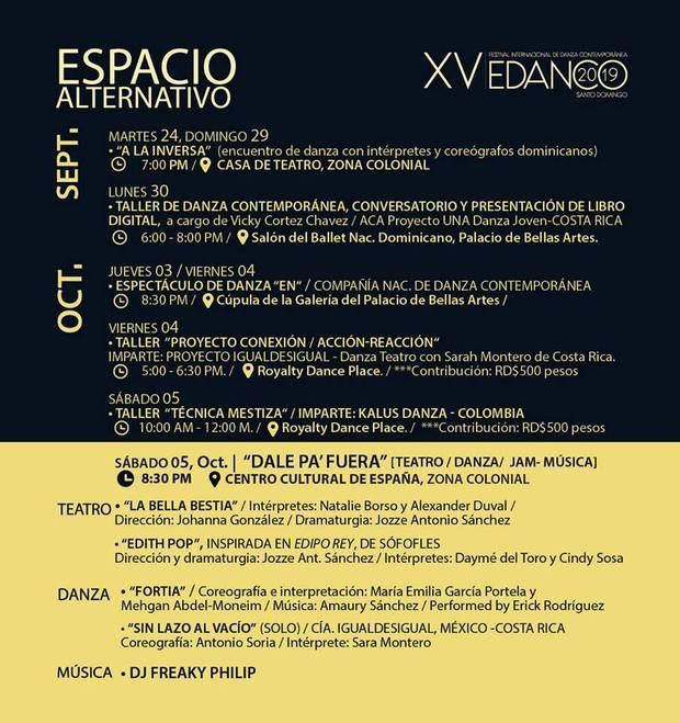 Calendario de presentaciones de Edanco