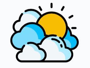 Cielo de nubes dispersas y sol, ambiente caluroso
