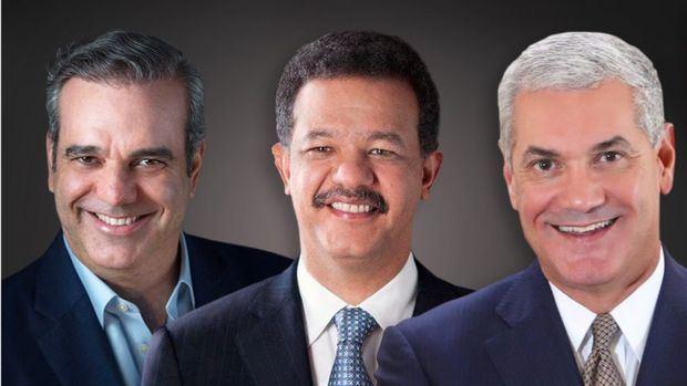 Candidatos a la presidencia de la República Dominicana: Luis Abinader, Leonel Fernández y Gonzalo Castillo.