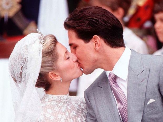Marie-Chantal y Pablo de Grecia tras celebrar su unión en Londres.