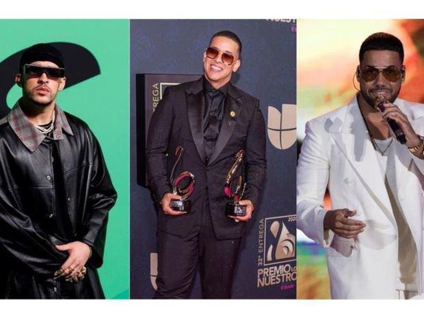Combo de fotografías de archivo de izq. a der. de los cantantes Bad Bunny, Daddy Yankee y Romeo Santos.