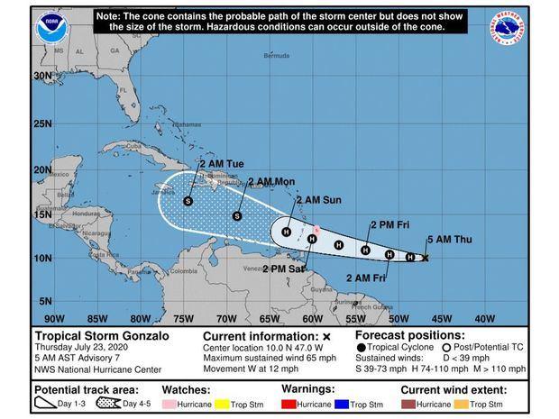 Tormenta tropical Gonzalo se fortalece, se prevé se convierta en huracán hoy