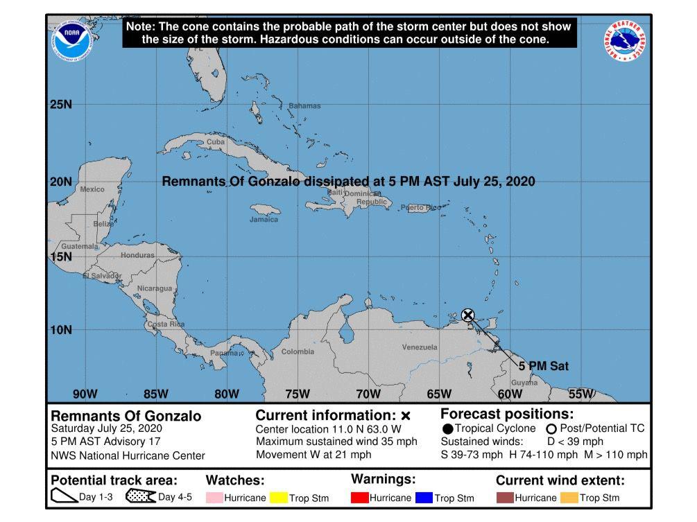 Tormenta tropical Gonzalo continúa débil