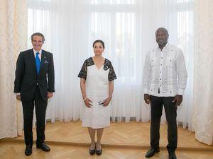 Director General del Organismo Internacional de Energía Atómica (OIEA), Sr. Rafael Grossi; Embajadora Lourdes Victoria-Kruse; Secretario Ejecutivo de la Organización del Tratado de Prohibición Completa de los Ensayos Nucleares (OTPCEN), Dr. Lassina Zerbo.