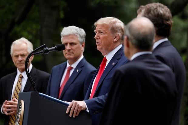 El presidente de los Estados Unidos, Donald J. Trump, pronuncia comentarios sobre China en el Jardín de las Rosas en la Casa Blanca en Washington, DC, EE. UU.