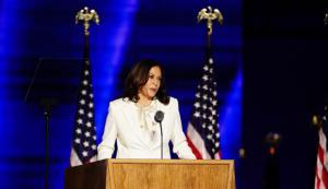 Kamala Harris durante su primer discurso como vicepresidenta electa de Los Estados Unidos.