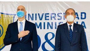 El ministro Franklin García Fermín y el rector de la Universidad Dominicana O & M, José Rafael Abinader Corona, encabezaron un acto con emprendedores de 25 instituciones de educación superior.