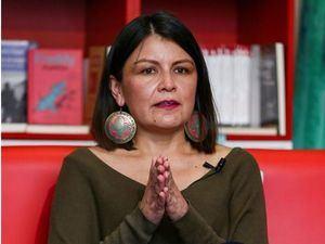 La ministra de Cultura y Patrimonio, Angélica Arias, ofrece una rueda de prensa hoy, en Quito, Ecuador.